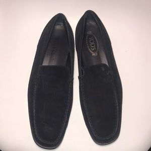 Tods men's black suede slip on loafers shoes 11.5